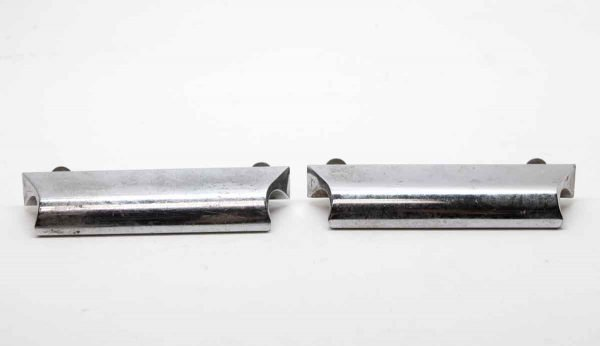 Cabinet & Furniture Pulls - Pair of Modern Chrome Over Brass Drawer Pulls