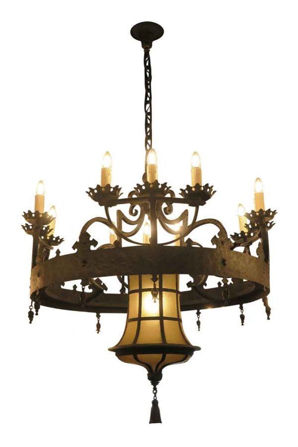 Chandeliers - Elegant 12 Arm Wrought Iron Chandelier from a Manhattan Synagogue