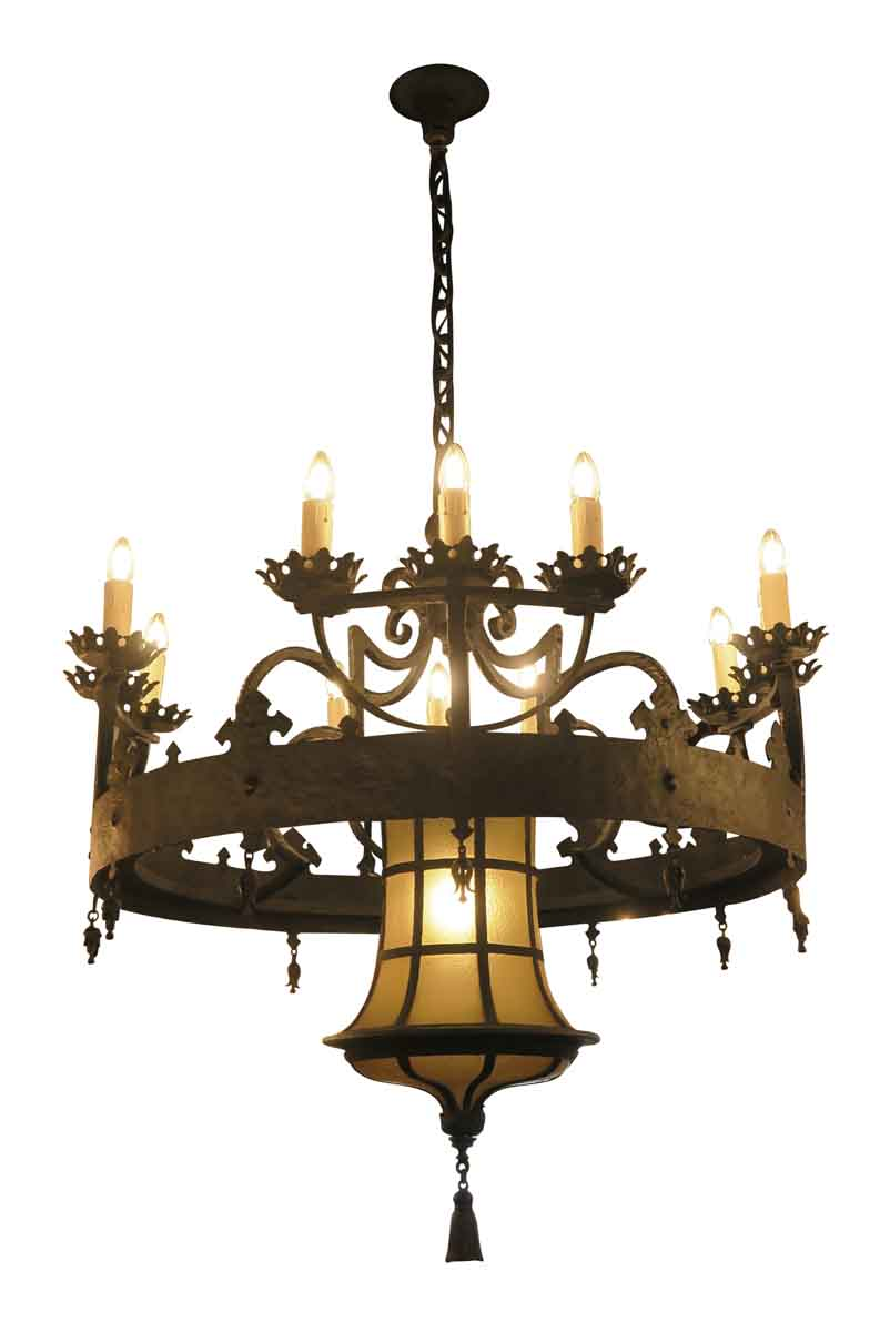 Elegant 12 Arm Wrought Iron Chandelier from a Manhattan ...