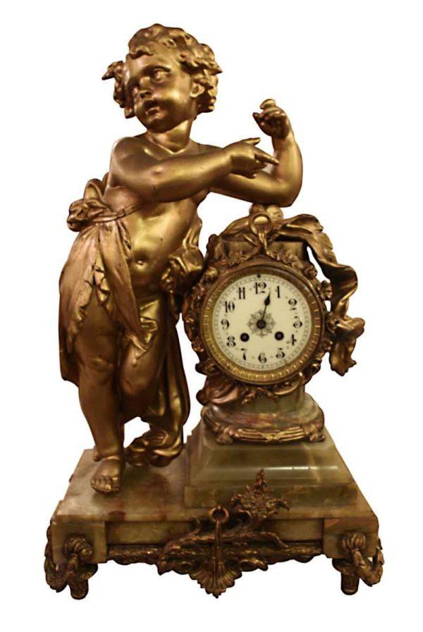 Clocks  - Bronze Mantel Clock with Onyx Base