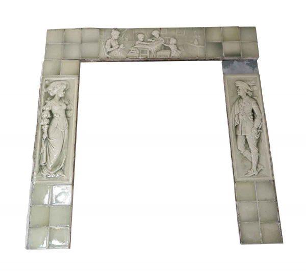 Fireplace Surrounds - Antique American Encaustic Mint Green Tile Surround