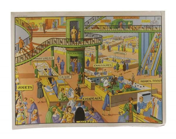 Posters - Double Sided Vintage French Shopping Mall & the City School Poster