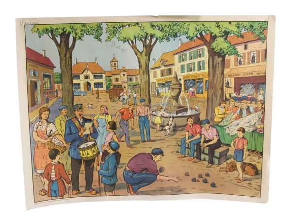 Posters - Double Sided Vintage French Village & Post Office School Poster