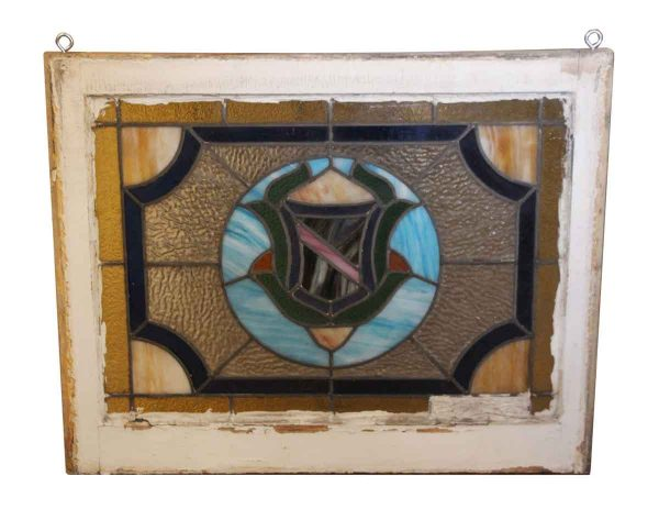 Stained Glass - Painted Wood Frame Stained Glass Window
