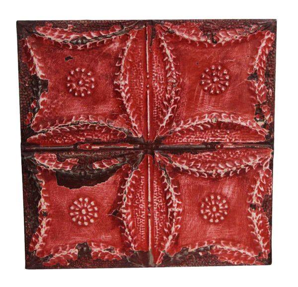 Tin Panels - Red Quadrant Floral Tin Panel