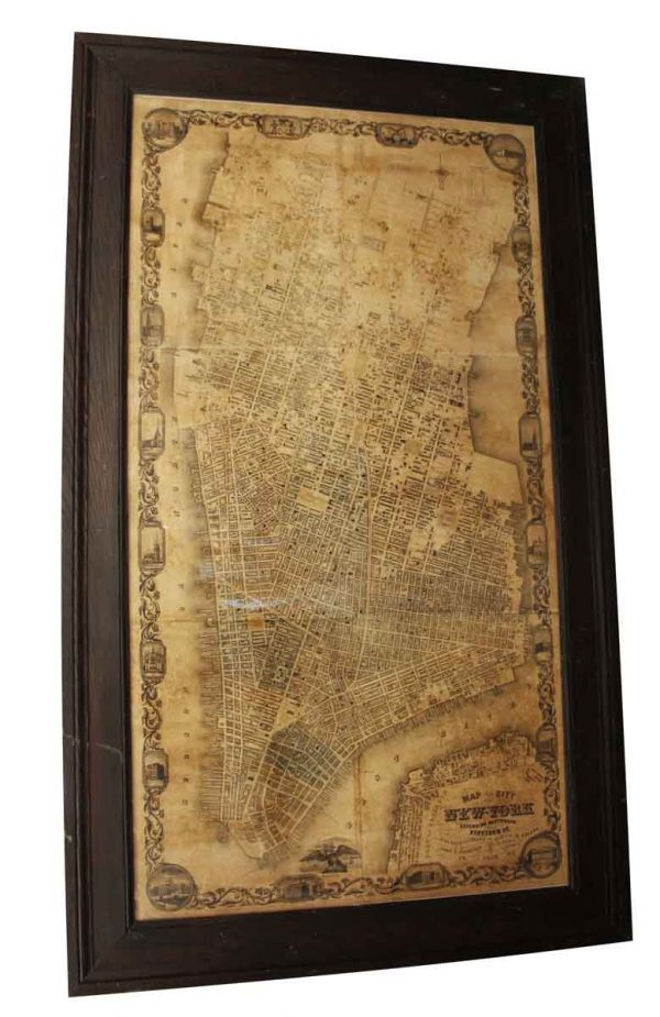 Vintage Signs - Framed Antique Map of the City of New York