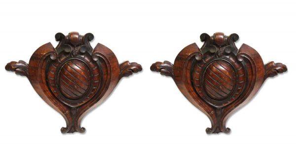 Applique - Pair of Carved Mahogany Keystone Hearts