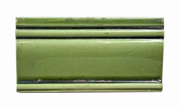 Bull Nose & Cap Tiles - Antique 6 in. Green Edge Trim Tile