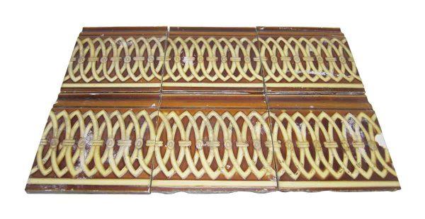 Bull Nose & Cap Tiles - Antique Brown & Tan 6 in. Square Edge Tile Set