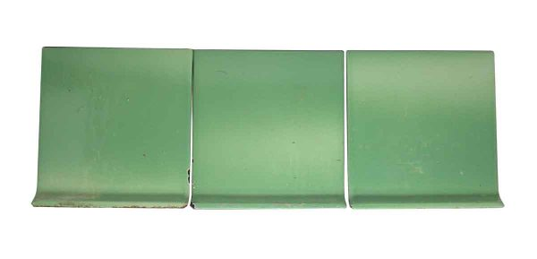 Bull Nose & Cap Tiles - Set of Three Metal Baseboard Green Tiles