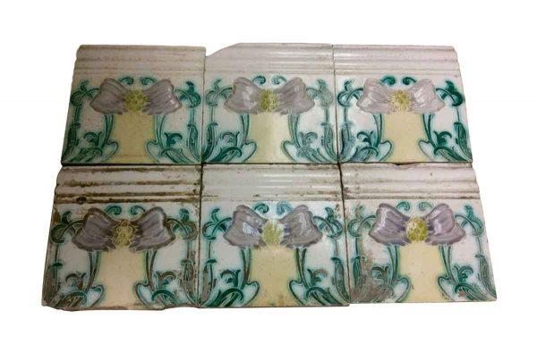 Bull Nose & Cap Tiles - White Tile Set with Art Nouveau Details