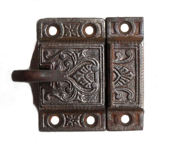Cabinet & Furniture Latches - Antique Ornate Loop Handle Iron Cabinet Latch