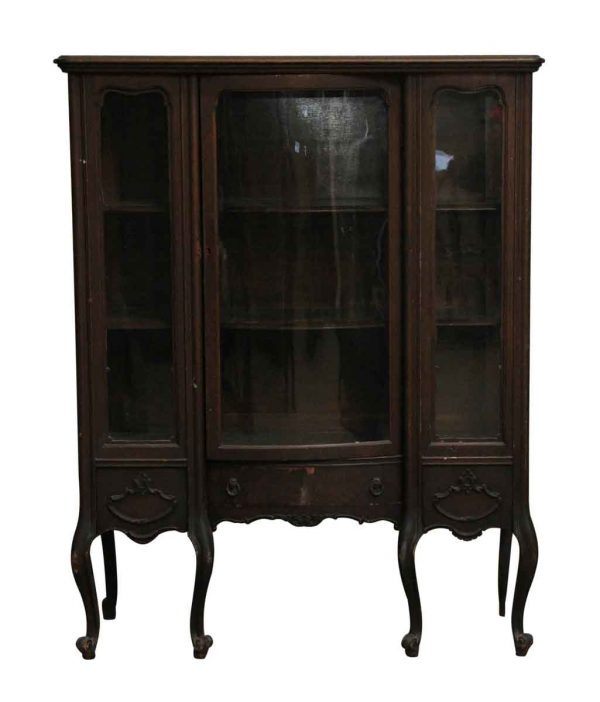 Cabinets - Antique Curved Leg Wooden Curio Cabinet