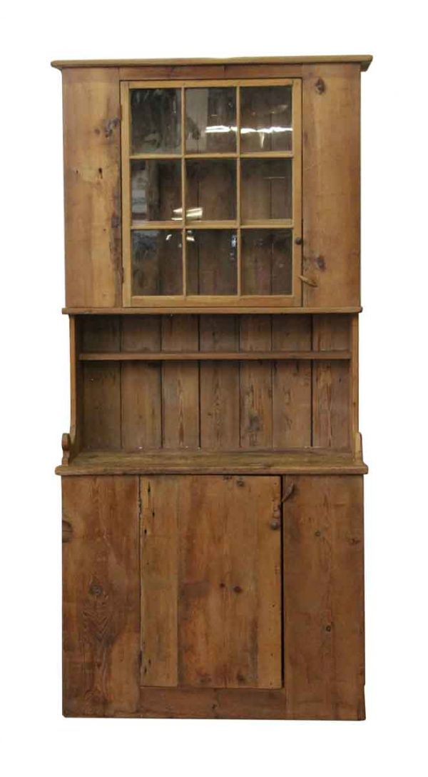 Cabinets & Bookcases - Tall Pine Hutch with Six Lite Top Cabinet Door