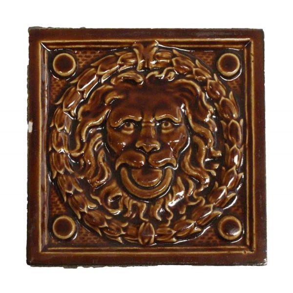 Collectors Tiles - Antique Figural Brown Lion Tile