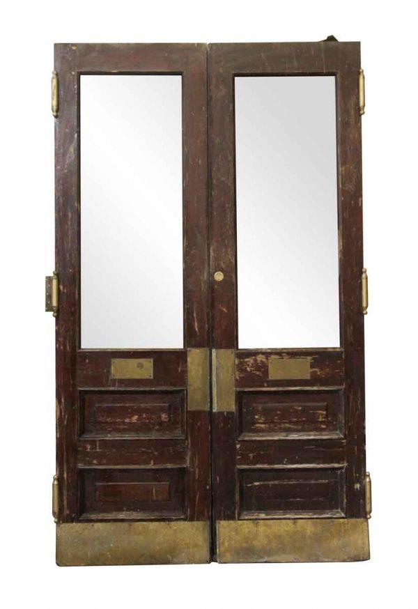 Entry Doors - Brownstone Pair of Wooden & Glass Doors