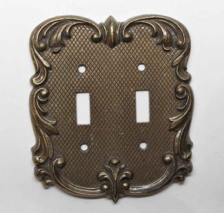 Vintage Pair of Electric Light Switch Cover Plates Brass