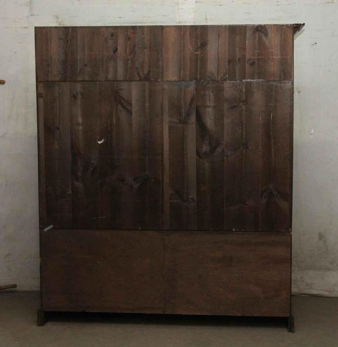 Large Vintage Dark Wood Tone Shelving Unit