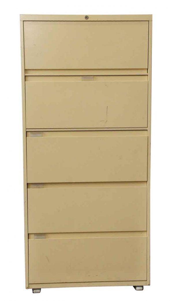 Office Furniture - Vintage 5 Drawer Tan Metal File Cabinet