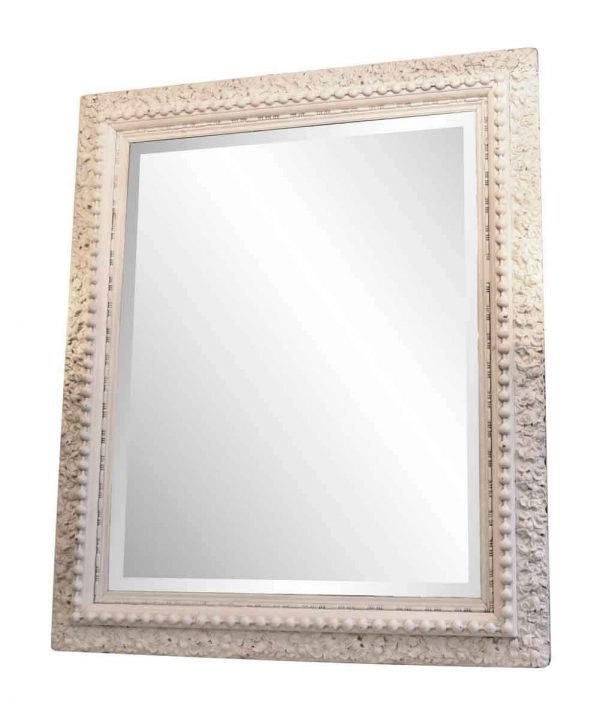 Overmantels & Mirrors - Antique White Floral with Beaded Frame Over Mantel Mirror