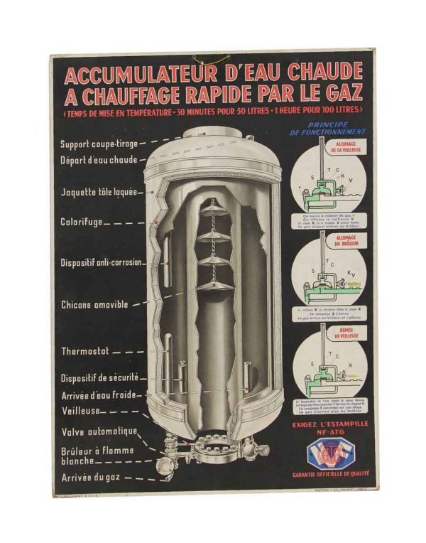 Posters - Vintage French Hot Water Accumulator Poster