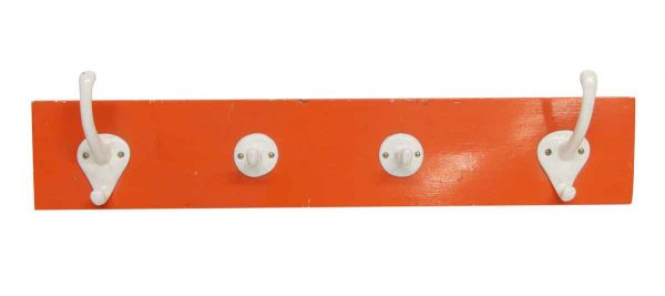 Racks - European Four Hooks on Orange Wooden Plank