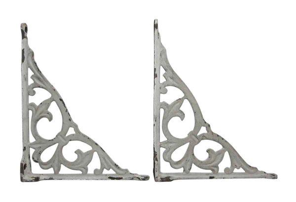 Shelf & Sign Brackets - Pair of Decorative White Shelf Brackets