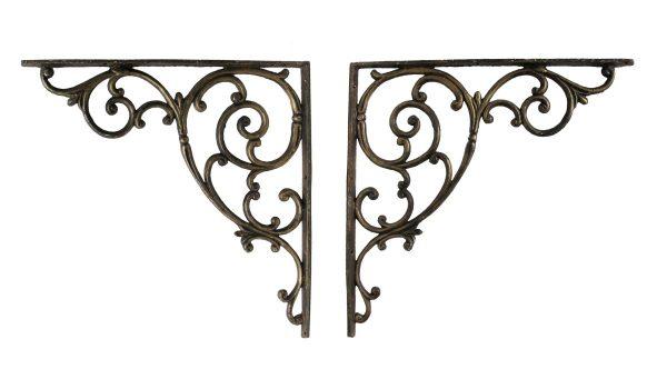 Shelf & Sign Brackets - Vintage Pair of Cast Iron Large Brackets