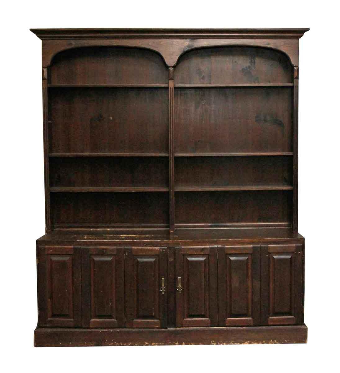 Large Vintage Dark Wood Tone Shelving Unit Olde Good Things
