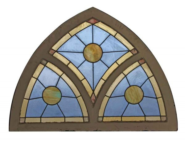 Stained Glass - Stained Glass Window with White Arched Wood Frame