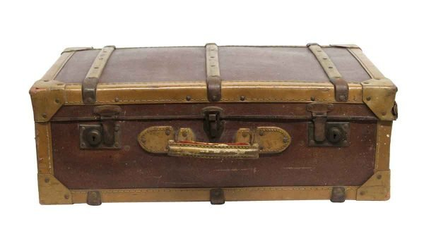 Suitcases - Vintage Imported Brown & Tan Suitcase