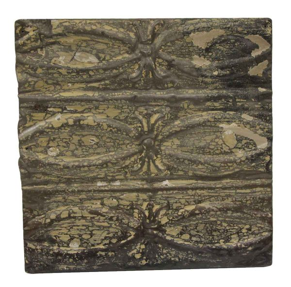 Tin Panels - Distressed Crackled Beige & Brown Fish Pattern Tin Panel