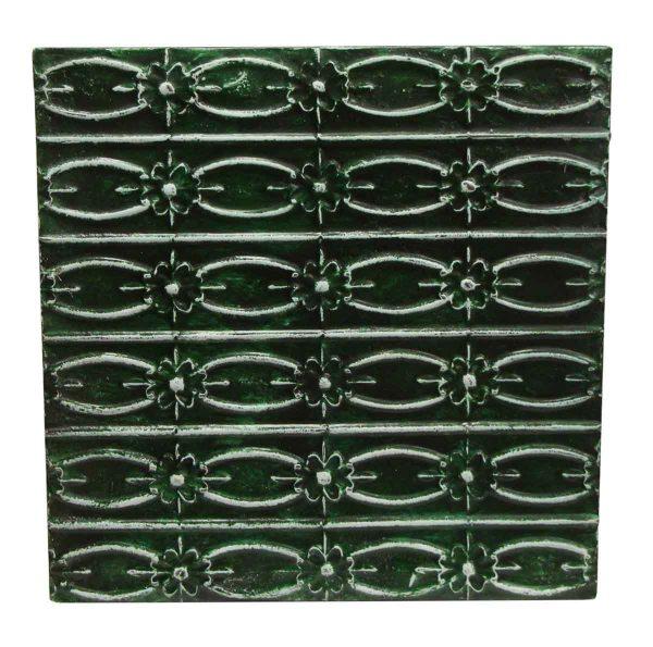 Tin Panels - Green Floral Fish Pattern Antique Tin Panel