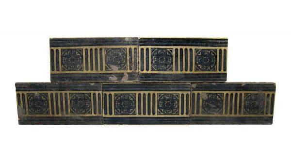 Wall Tiles - Navy Blue 6 in. Floral Encaustic Tiles