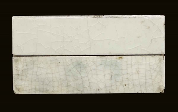 Wall Tiles - Pair of Crackled 4.25 in. Off White & Blue Tiles