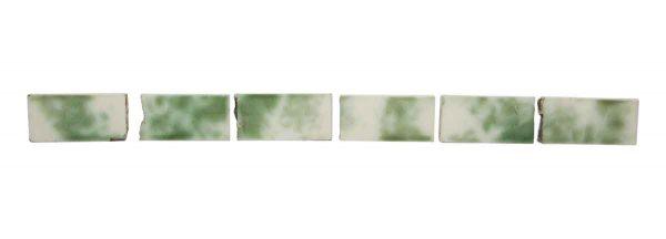 Wall Tiles - Set of Nine Green & White Crackled 3 in. Tiles