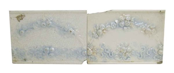 Wall Tiles - White & Blue Floral Decorative 6 in. Tile Set