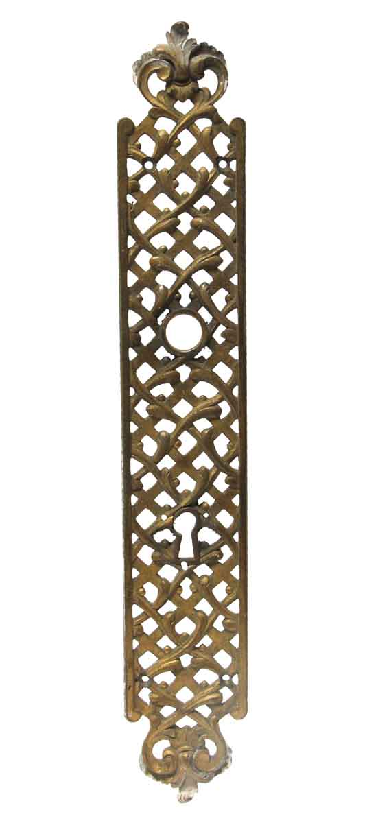 Back Plates - 14.25 in. Cut Out French Brass Door Back Plate
