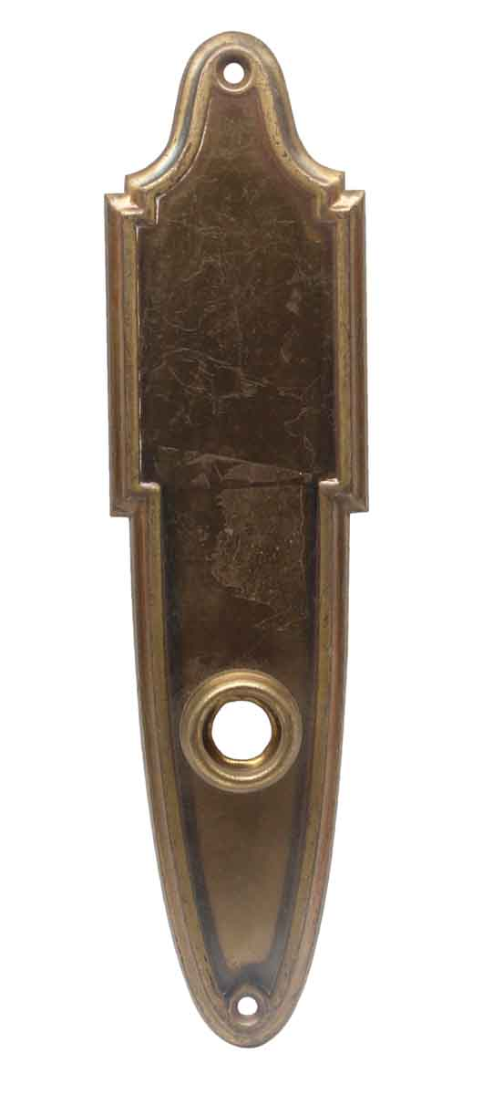 Back Plates - 8.625 in. Art Deco Brass Door Back Plate