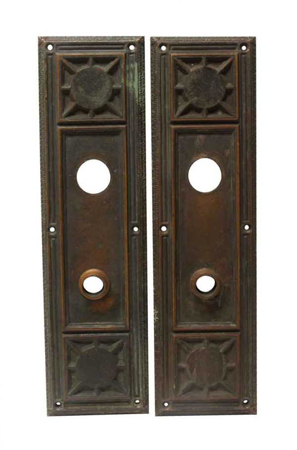 Back Plates - Pair of Gothic Heavy Cast Bronze Door Back Plates
