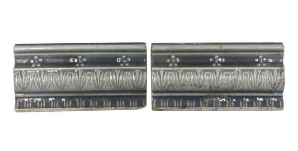 Bull Nose & Cap Tiles - Pair of Gray Edge Floral Tiles