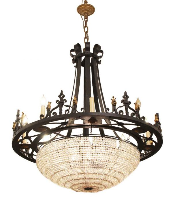 Chandeliers - 1920s French Gothic Iron & Crystal 12 Light Chandelier