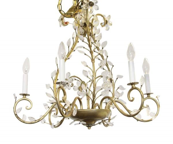 Chandeliers - Branchettie Bagues Style Wrought Iron & Crystal Six Light Chandelier