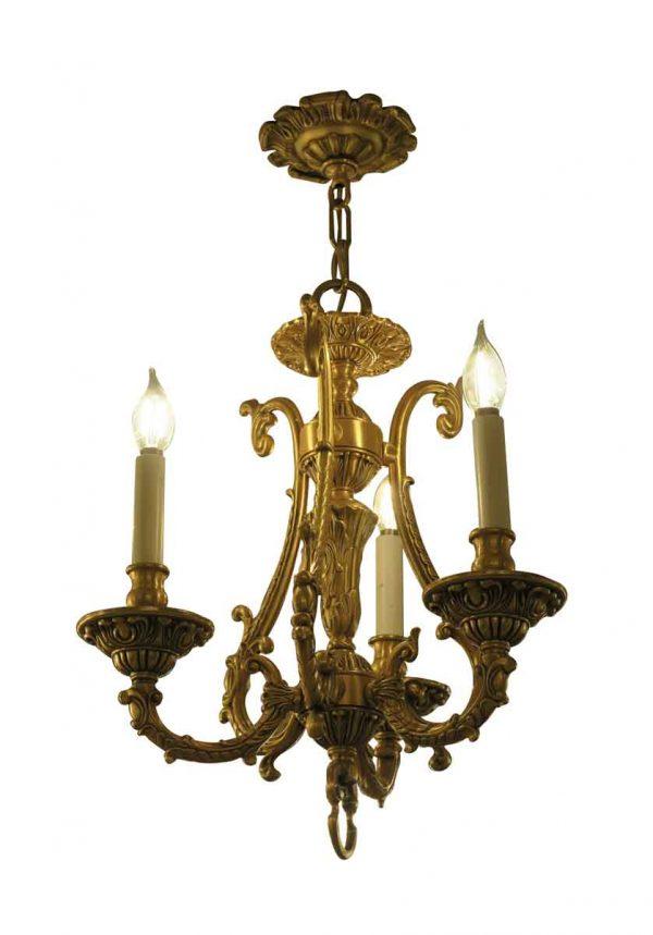 Chandeliers - Gilded Bronze 3 Arm Foyer Chandelier