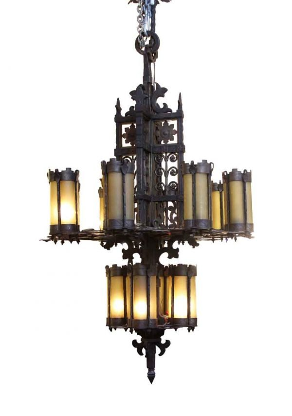 Chandeliers - Wrought Iron & Amber Glass Chandelier