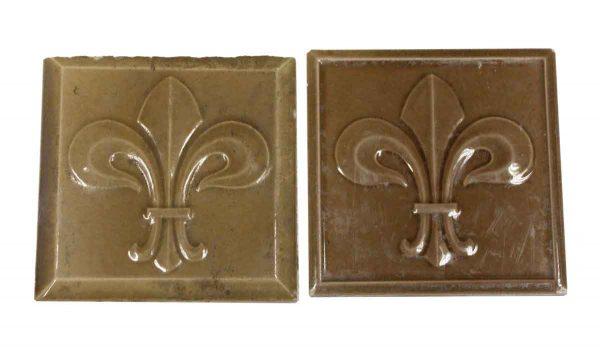 Collectors Tiles - Pair of Dark Tan Fleur De Lis Tiles