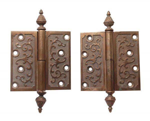 Door Hinges - Pair of Cast Bronze Antique 4 x 4 Decorative Door Hinges