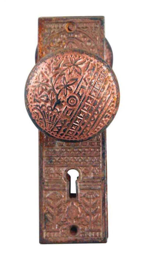 Door Knob Sets - Antique Cast Iron Vernacular Trenton Door Knob Set