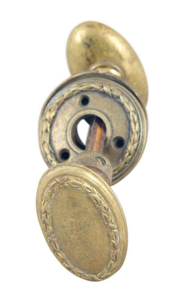 Door Knob Sets - Oval Brass Door Knob Set with Matching Rosettes
