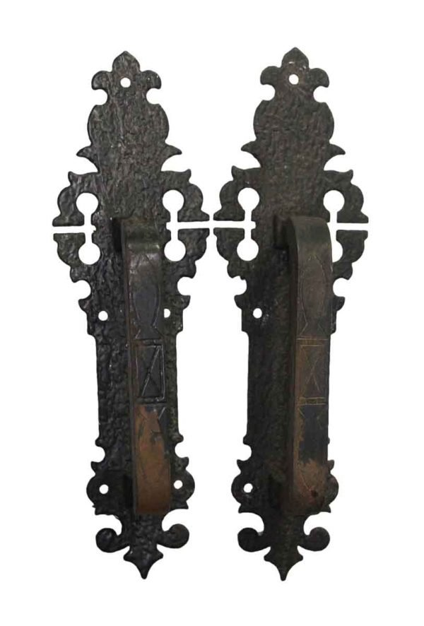 Door Pulls - Cast Iron Pair of Arts & Crafts Door Pulls